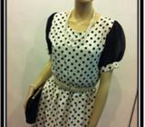 3/4 Sleeved White dress black Polka dot