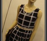 Sleeveless Black/white checked cocktail dress