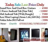 Guitars ,G Force Android ,Mid Android Tab ,Acer Mini Laptop ,Nokia Asha 202