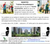 WANTED – Trainee Housekeepers