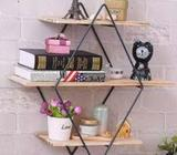 European Style 3 Tier Wood Iron Craft Wall Shelf Rack