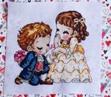 Lovely couple cross stitch embroidery
