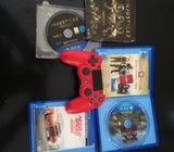 PS4 original sony joystick and 3 game DVD's