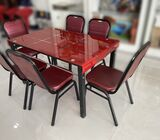 Glass Dining Table+6Bq Chairs