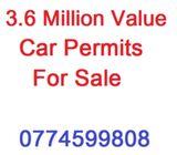 3.6 Million Value Car Permit for Sale