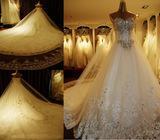 crystal top wedding dress